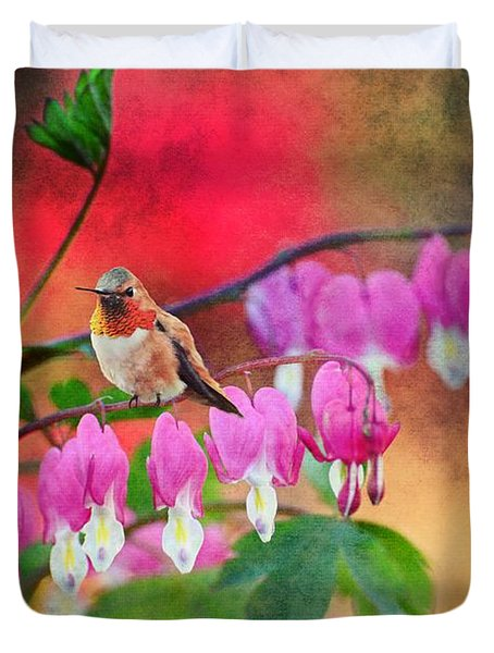 Hummer With Heart Duvet Cover by Lynn Bauer