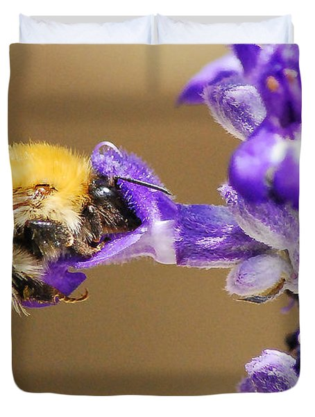 Duvet Cover featuring the photograph Humming Bee  by Stwayne Keubrick