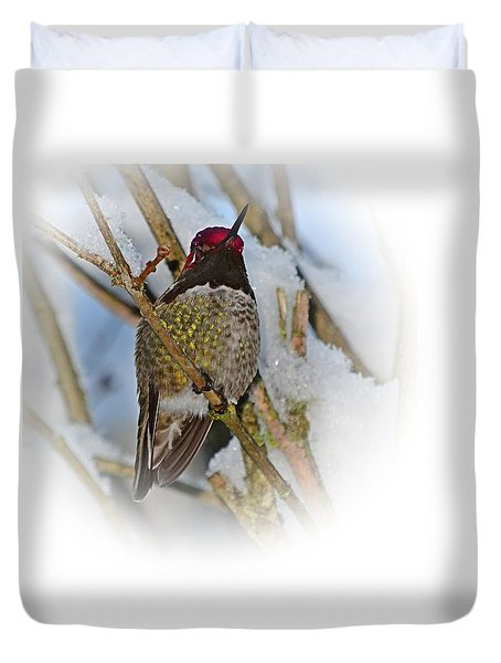 Humming Bird And Snow 4 Duvet Cover