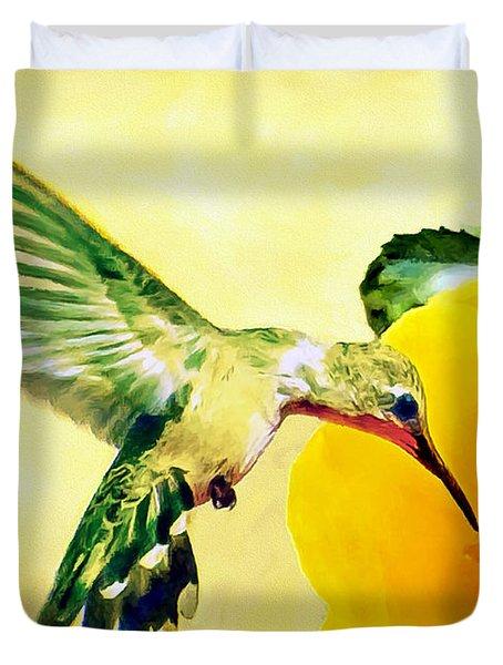 Hummingbird And California Poppy Duvet Cover