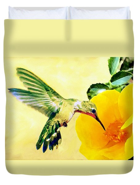 Hummingbird And California Poppy Duvet Cover