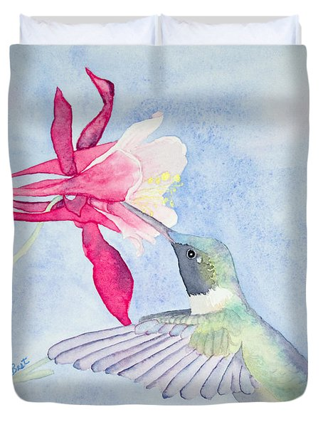 Hummingbird And Columbine Duvet Cover