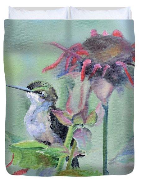 Hummingbird And Coneflowers Duvet Cover