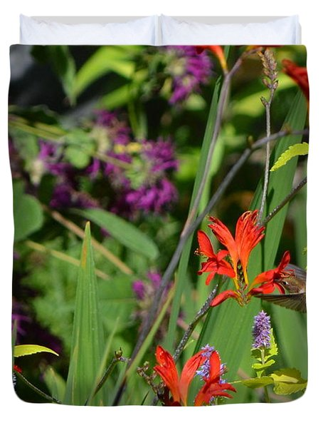 Hummingbird And Crocosmia Lucifer Duvet Cover