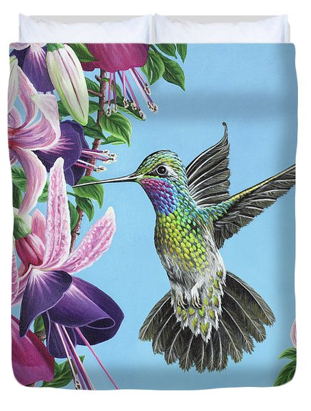 Duvet Cover featuring the painting Hummingbird And Fuchsias by Jane Girardot