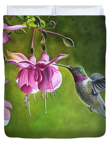 Duvet Cover featuring the painting Hummingbird And Fuschia by Debbie Hart