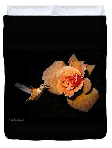 Hummingbird And Orange Rose Duvet Cover by Joyce Dickens