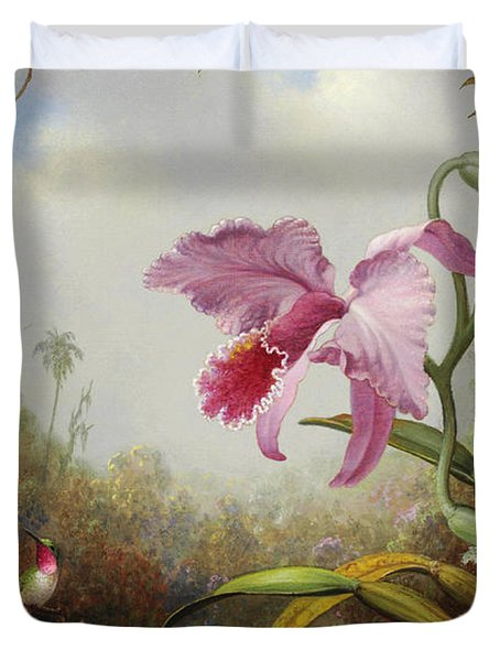 Hummingbird And Two Types Of Orchids Duvet Cover