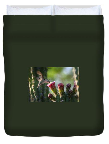 Hummingbird Breakfast Southwest Style  Duvet Cover by Saija  Lehtonen