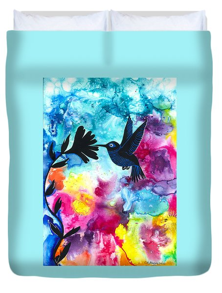 Hummingbird Duvet Cover by Cat Athena Louise