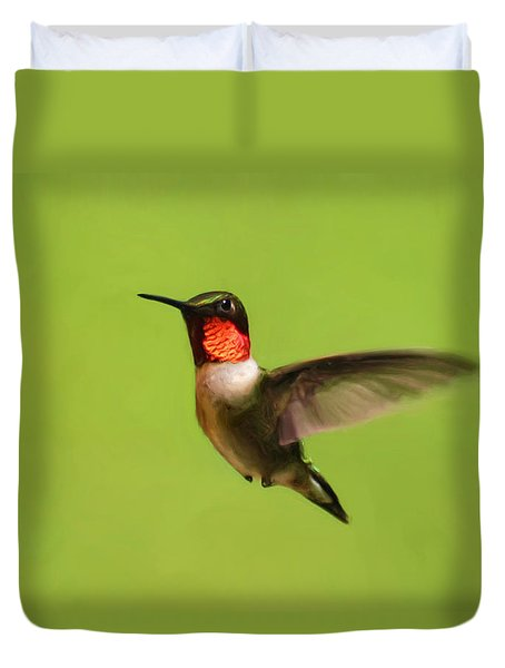 Duvet Cover featuring the painting Hummingbird Defender by Christina Rollo