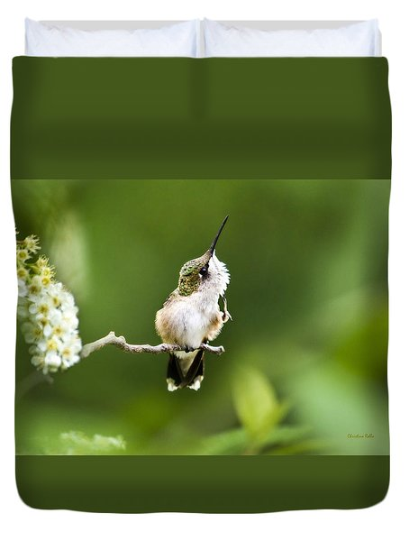 Duvet Cover featuring the photograph Hummingbird Flexibility by Christina Rollo