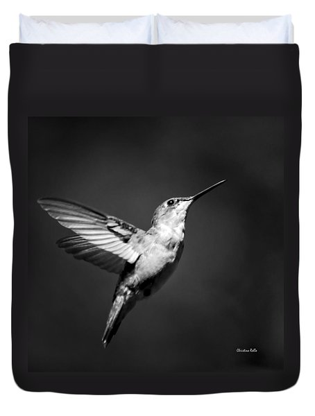 Hummingbird Flight Bw Square Duvet Cover