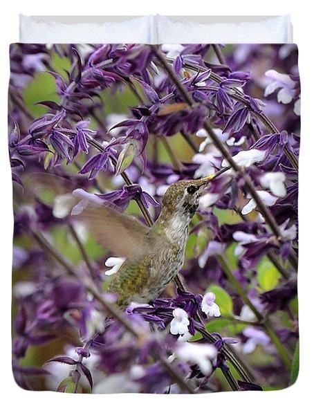 Hummingbird Flowers Duvet Cover