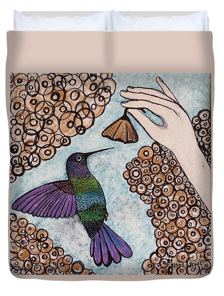 Duvet Cover featuring the painting Hummingbird Golden Flower by Jasna Gopic
