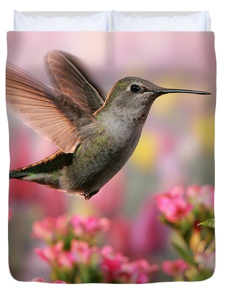Hummingbird In Colorful Garden Duvet Cover