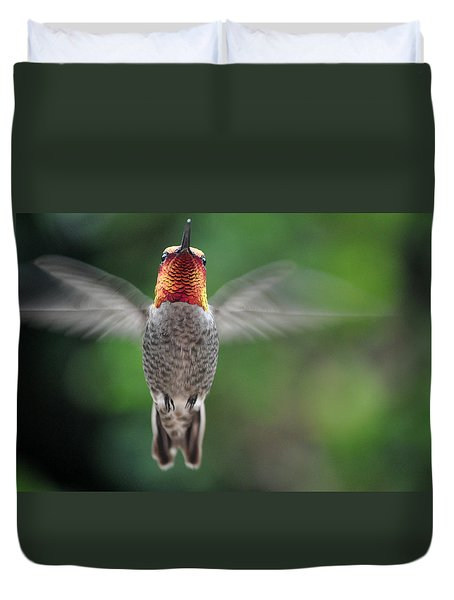 Duvet Cover featuring the photograph Hummingbird In Flight Male Anna by Jay Milo