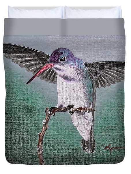 Duvet Cover featuring the drawing Hummingbird by Kume Bryant