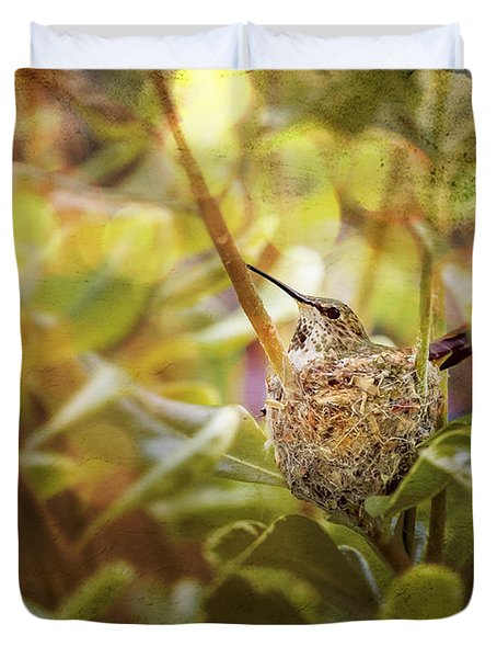 Hummingbird Mom In Nest Duvet Cover by Angela A Stanton