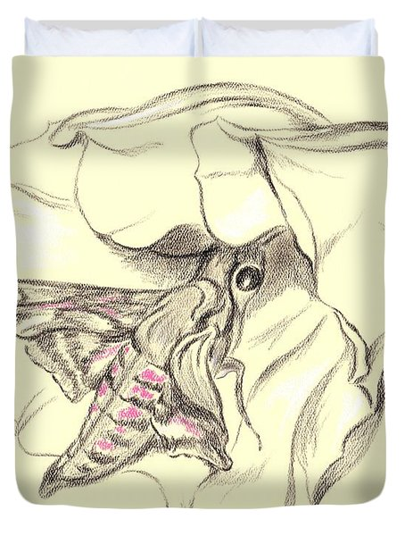 Duvet Cover featuring the drawing Hummingbird Moth In Moonflower by MM Anderson