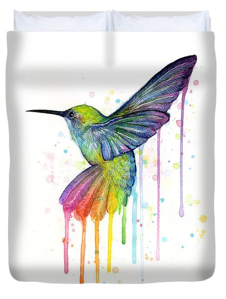 Hummingbird Of Watercolor Rainbow Duvet Cover