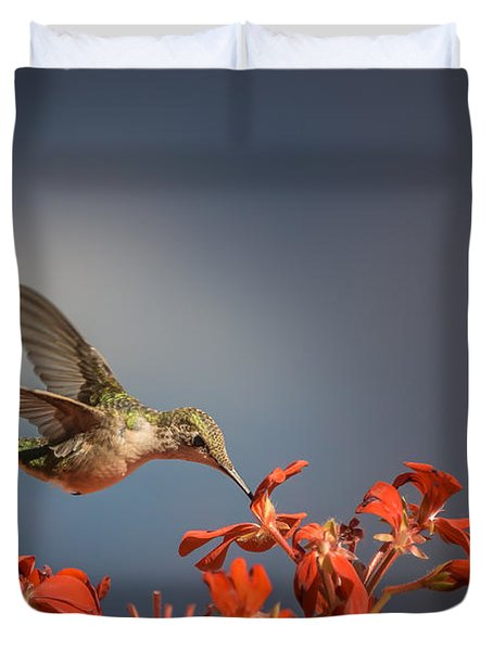 Hummingbird Or My Summer Visitor Duvet Cover by Jola Martysz