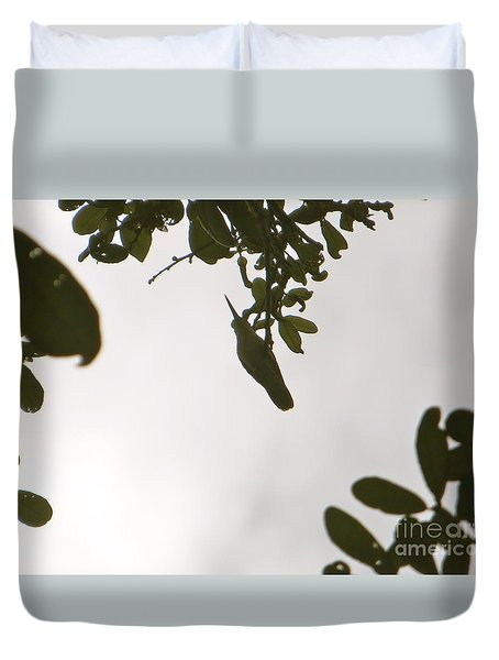 Duvet Cover featuring the photograph Hummingbird Silhouette 1 by Joy Hardee