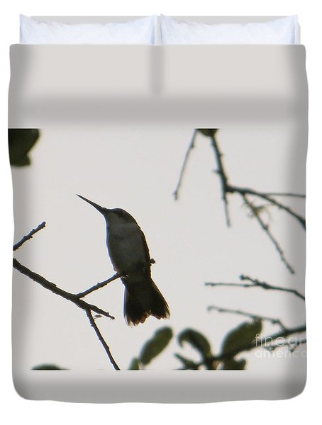 Duvet Cover featuring the photograph Hummingbird Silhouette 2 by Joy Hardee