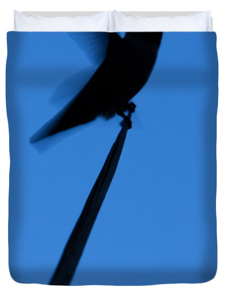 Duvet Cover featuring the photograph Hummingbird Silhouette by John Wadleigh