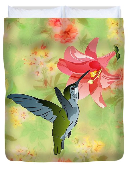 Hummingbird With Pink Lily Against Floral Fabric Duvet Cover