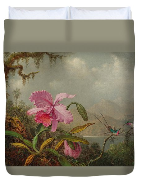 Hummingbirds And Orchids Duvet Cover