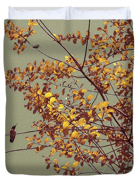 Hummingbirds On Yellow Tree Duvet Cover