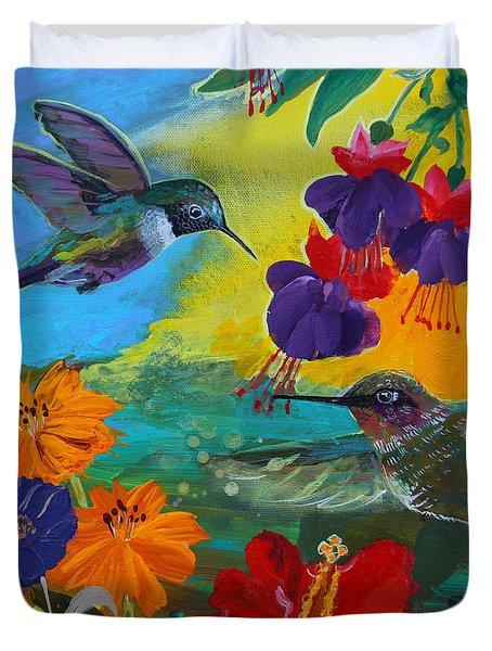 Hummingbirds Prayer Warriors Duvet Cover