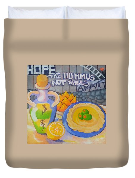 Hummus Behind A Wall Duvet Cover