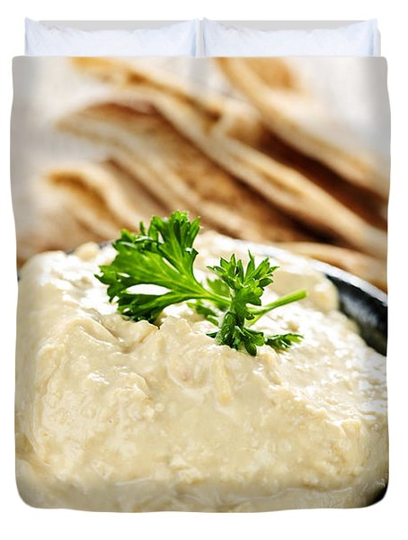 Hummus With Pita Bread Duvet Cover by Elena Elisseeva