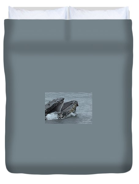 Duvet Cover featuring the photograph Humpback Whale  Lunge Feeding 2013 In Monterey Bay by California Views Mr Pat Hathaway Archives