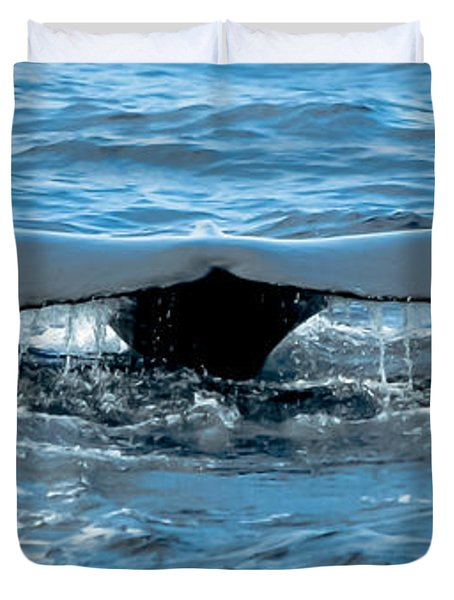 Humpback Whale Tail Off Bermuda Duvet Cover by Jeff at JSJ Photography