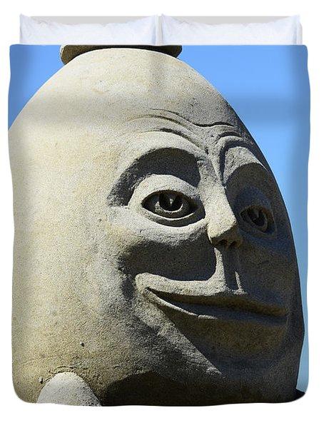 Humpty Dumpty Sand Sculpture Duvet Cover by Bob Christopher