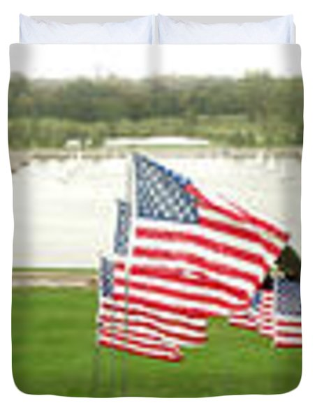Hundreds Of American Flags September 11 Memorial In Saint Louis Missouri Duvet Cover
