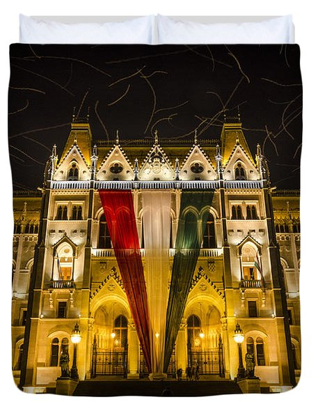 Hungarian Parliament At Night Duvet Cover