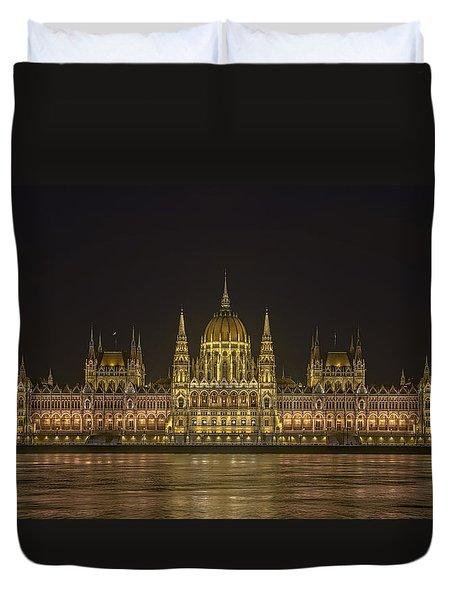 Hungarian Parliament Building Night Duvet Cover