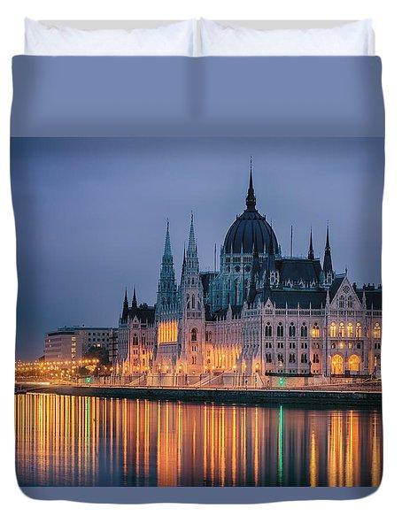 Hungarian Parliament Dawn Duvet Cover by Joan Carroll