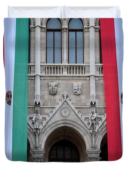 Hungary Flag Hanging At Parliament Budapest Duvet Cover