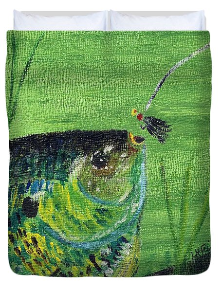 Duvet Cover featuring the painting Hungry Bluegill by Linda Feinberg
