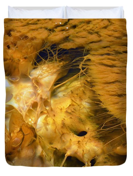 Hungry Looking Bacterial Mat Yellowstone Duvet Cover by Bruce Gourley