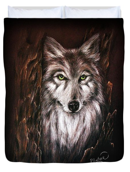 Duvet Cover featuring the drawing Hunter In The Night by Patricia Lintner