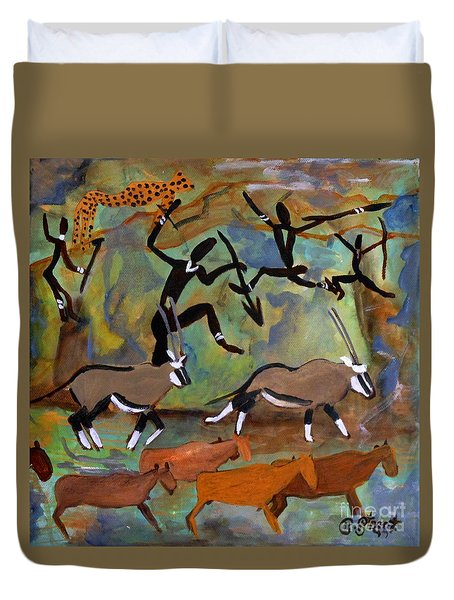Hunters And Gemsbok Rock Art Duvet Cover by Caroline Street