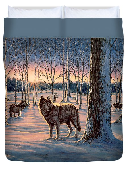 Hunters At Twilight Duvet Cover