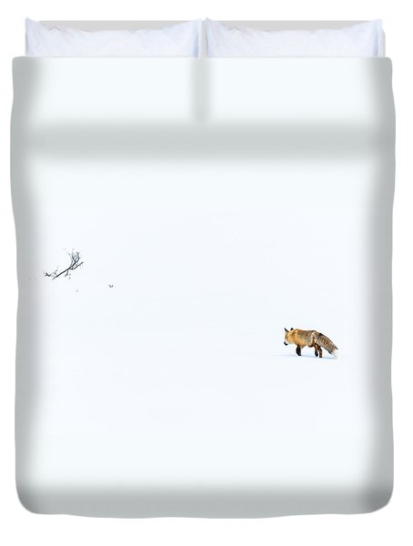 Duvet Cover featuring the photograph Hunting In White by Yeates Photography