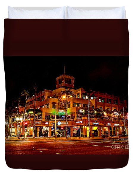 Huntington Beach Downtown Nightside 1 Duvet Cover by Jim Carrell